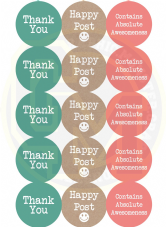 Thank You Happy Post Stickers - Classic Pastel Colours 50mm Round Paper